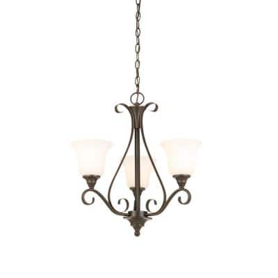 Westwood 3-Light Oil Rubbed Bronze Chandelier with Frosted White Glass Shades