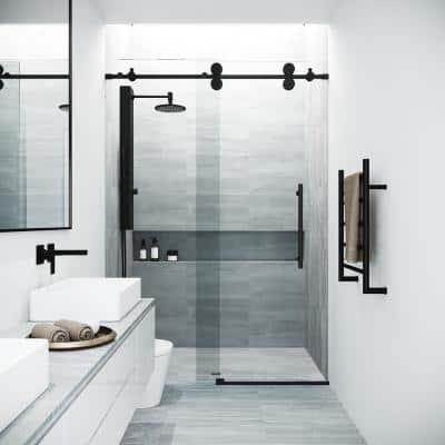 Elan 60 to 64 in. x 74 in. Frameless Sliding Shower Door in Matte Black with Clear Glass and Handle