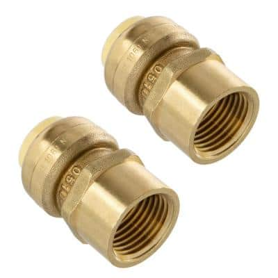 1/2 in. Push-Fit x 1/2 in. Female Pipe Thread Brass Coupling (2-Pack)