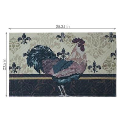 Brown Rooster 23 in. x 35 in. Kitchen Floor Mat