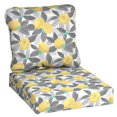 24 in. x 22 in. Stone Gray Lemons Deep Seating Outdoor Lounge Chair Cushion