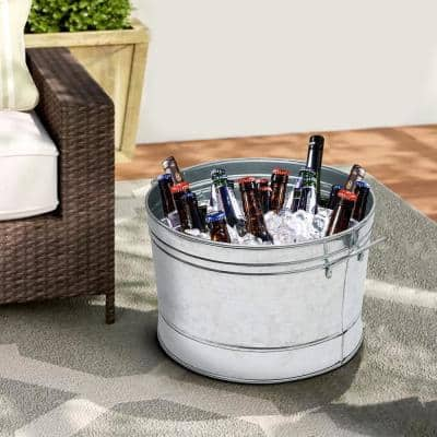 7.5 Gal. Round Silver Galvanized Steel Tub with Side Handles and Embossed Design