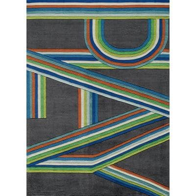 Lil Mo Hipster Play Blue 3 ft. x 5 ft. Indoor Kids Area Rug