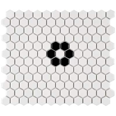 Metro Hex Glossy White with Single Flower 10-1/4 in. x 11-7/8 in. Porcelain Mosaic Tile (8.65 sq. ft./Case)