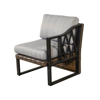 1-Piece Brown Wicker Outdoor Sectional Left Arm Chair with Gray Cushions