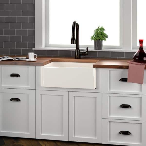 Barclay Products Brooke Farmhouse Apron Front Fireclay 23 In Single Bowl Kitchen Sink Bisque Fs24 Bq The Home Depot