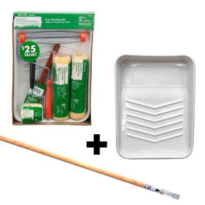 8-Piece High-Density Polyester Knit Paint Tray Kit + 4 ft. Wood Ext. Pole with Metal Tip + 9 in. Plastic Tray Liner