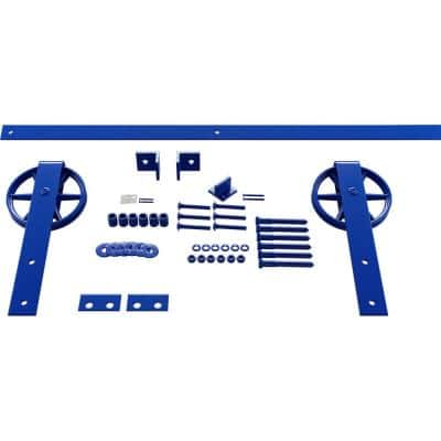 1-5/8 in. x 48 in. x 13-5/8 in. Steel Premium Wagon Wheel Strap Barn Door Hardware Set Moulding Blue Ribbon