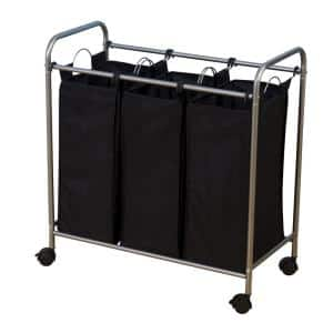 Satin Silver and Black Polyaster Laundry Sorter Hamper Triple Bags and Wheels