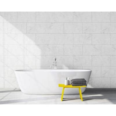 15.7 in. x 24.4 in. Tongue & Groove Decorative PVC Bathroom and Shower Wall Tiles in Carrara Marble, White (8-Piece)