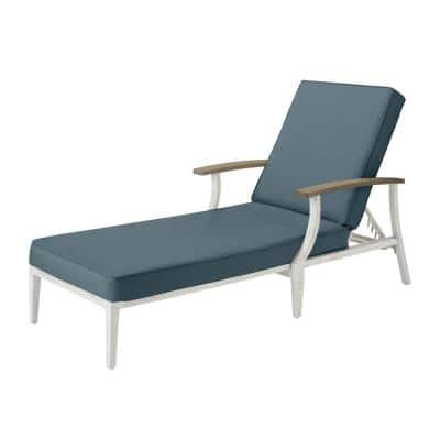 Marina Point White Steel Outdoor Patio Chaise Lounge with Sunbrella Denim Blue Cushions