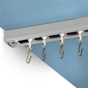 Ceiling Track Set 12 ft. to 18 ft. Large for Spaces Wide in Silver