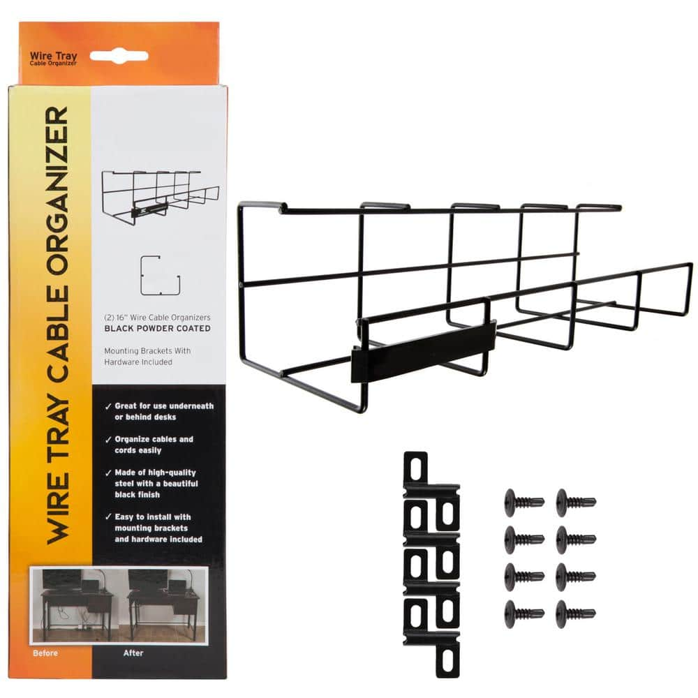 32 In Wire Tray Desk Cable Organizer Black Nngsr83 The Home Depot