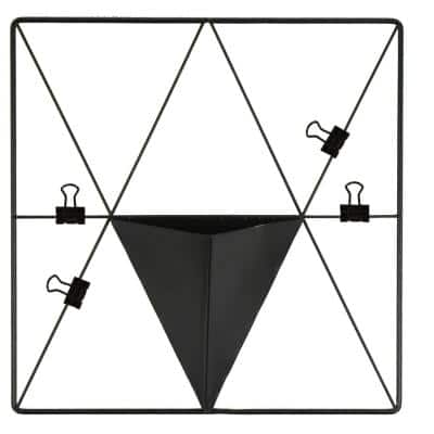 Matte Black Triangle Metal Grid with Pocket Wall Organizer Memo Board