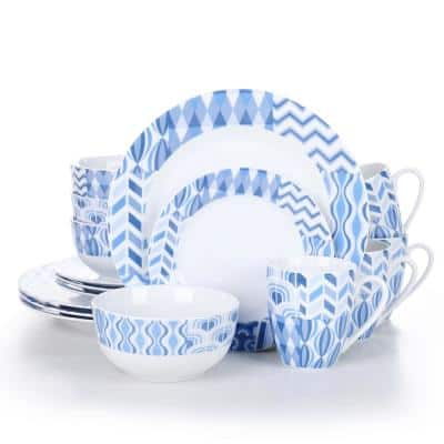 16- Piece Modern White with Blue Line Porcelain Dinnerware Sets (Service for Set for 4)