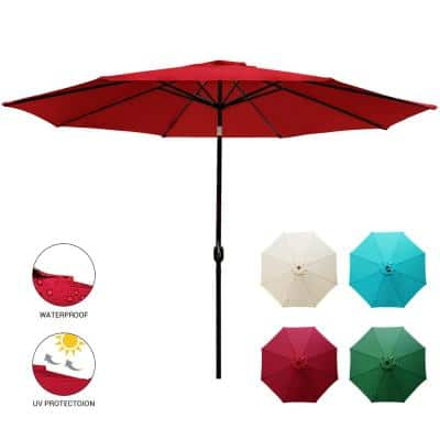 11 ft. Market Patio Umbrella Table with Push Button Tilt and Crank in Red