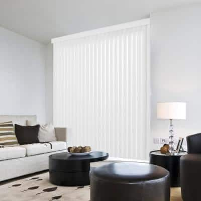 Crown White Room Darkening Vertical Blind for Sliding Door or Window - Louver Size 3.5 in. W x 61 in. L(9-Pack)