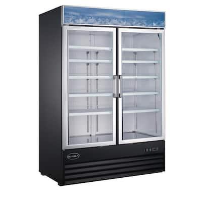 53 in. W 45 cu. ft. Two Glass Door Commercial Merchandiser Refrigerator Reach In in Black