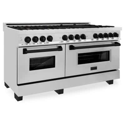 ZLINE 60 in. 7.4 cu. ft. Dual Fuel Range with Gas Stove and Electric Oven in Stainless Steel with Matte Black Accents