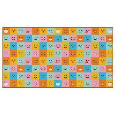 """Multicolor Social Distancing Colorful Kids Classroom Seating Area Rug, Emoji Mask Design, 8' x 180"""" Extra Large"""