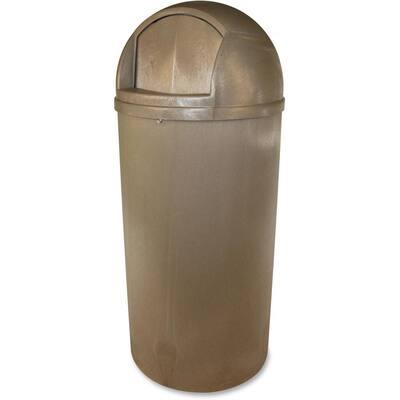 21 Gal. Beige Plastic Waste Receptacle with Strap-Secured Lid