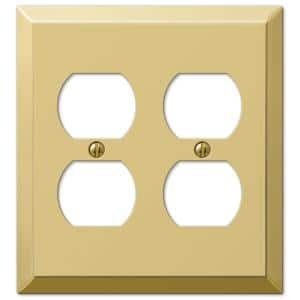 Metallic 2 Gang Duplex Steel Wall Plate - Polished Brass