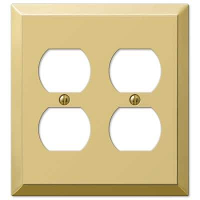 Metallic 2 Gang Duplex Steel Wall Plate - Polished Brass