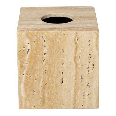 Roselli Trading Company 6 In Tissue Box Cover In Travertine Stone Cli Rsl3002325 The Home Depot