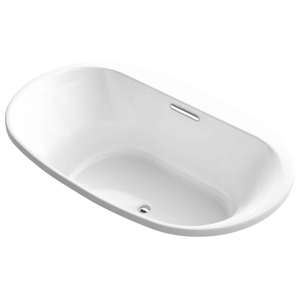 Kohler Underscore 6 Ft Acrylic Oval Drop In Rectangular Non Whirlpool Bathtub In White K 5717 0 The Home Depot