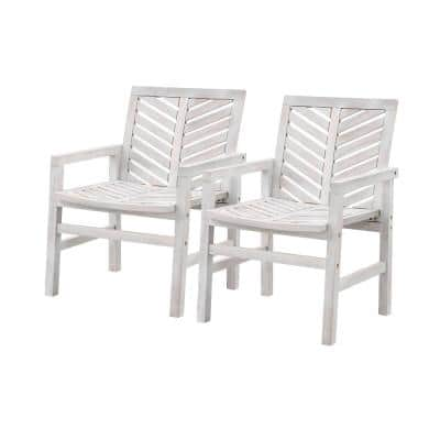 White Wash Acacia Wood Chevron Outdoor Lounge Chair Set (2-Pack)
