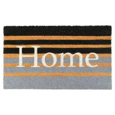 White 18 in. x 30 in. Home Striped Coir Doormat