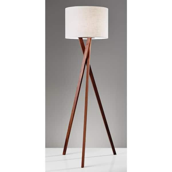 Adesso Brooklyn 63 In Walnut Floor Lamp 3227 15 The Home Depot
