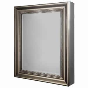 24 in. W x 30 in. H Framed Recessed or Surface-Mount Bathroom Medicine Cabinet in Brushed Nickel