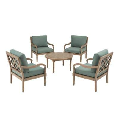 Lakewood 5-Piece Eucalyptus Patio Chat Set with Spa Cushions