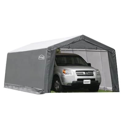 12 ft. W x 20 ft. D x 8 ft. H Steel Frame Polyethylene Instant Garage/Shed without Floor
