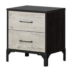 Valet 2 -Drawer Seaside Pine and Ebony Nightstand 24.5 in X 22.25 in X 16.5 in