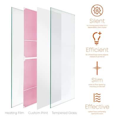 Glass Heater 750-Watt Radiant Wall Hanging Heat Panel with Decorative Artwork - White