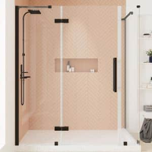 Tampa 62 13/16 in. W x 72 in. H Corner Shower Enclosure with Pivot Frameles Shower Door in Oil Rubbed Bronze