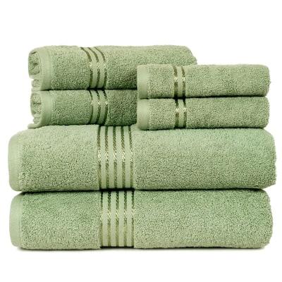 6-Piece Green 100% Cotton Bath Towel Set