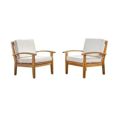 Caldwell Teak 2-Piece Wooden Patio Deep Seating Set with Beige Cushions
