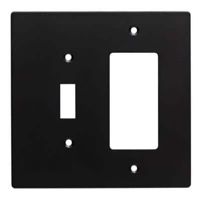 Black 2-Gang 1-Toggle/1-Decorator/Rocker Wall Plate (1-Pack)