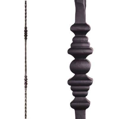 Tuscan Square Hammered 44 in. x 0.5625 in. Satin Black Double Decorative Knuckle Solid Wrought Iron Baluster