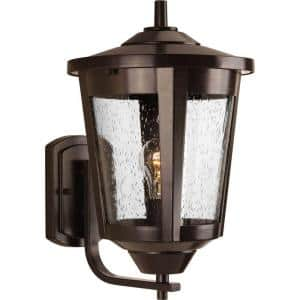 East Haven Collection 1-Light Antique Bronze Clear Seeded Glass Transitional Outdoor Large Wall Lantern Light
