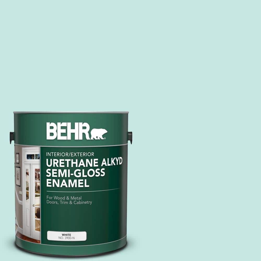 Behr 1 Gal P440 2 Clear Aqua Urethane Alkyd Semi Gloss Enamel Interior Exterior Paint 390001 The Home Depot