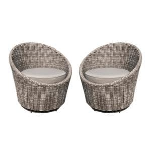 Claire Swivel Wicker Outdoor Lounge Chair with Tan Cushion (2-Pack)