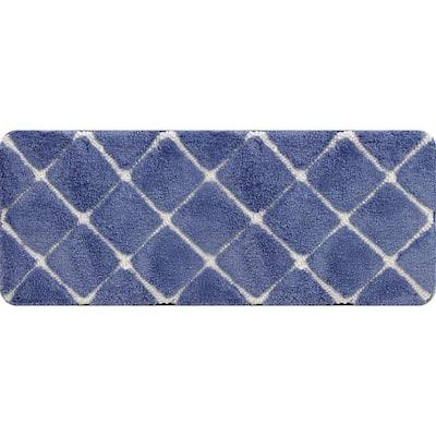 Trellis Foam Mid Blue 24 in. x 60 in. Polyester Bath Mat