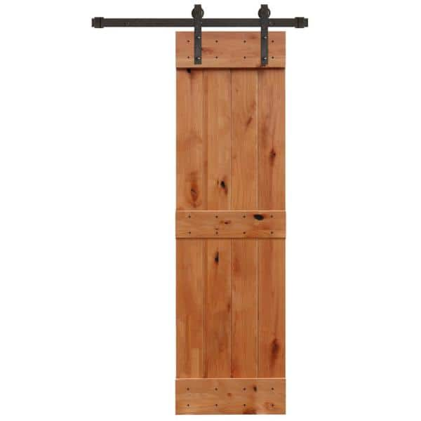 Pacific Entries 24 In X 84 In Rustic Unfinished 2 Panel Knotty Alder Sliding Barn Door Kit With Oil Rubbed Bronze Hardware Kit Ua3120 24 10b The Home Depot