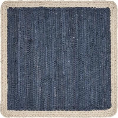 Delicate 15 in. x 15 in. Indigo Blue / Cream Bordered Square Cotton Placemat (Set of 4)