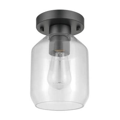 Middleton 1-Light Matte Black Outdoor Indoor Flush Mount Ceiling Light with Clear Glass Shade