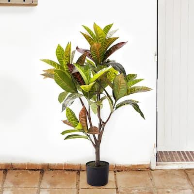 3.5 ft. Artificial Croton Rubber Plant Fiddle Leaf Plant in Black Pot